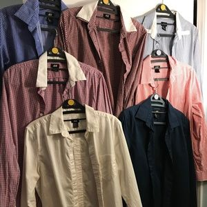 7 H&M Button Downs Dress Shirt/Casual Long Sleeve